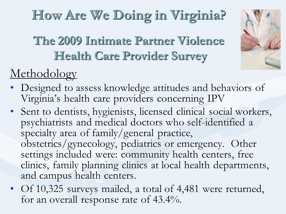How Are We Doing in Virginia? The 2009 Intimate Partner Violence Health Care Provider Survey Methodology Designed to assess knowledge attitudes and be