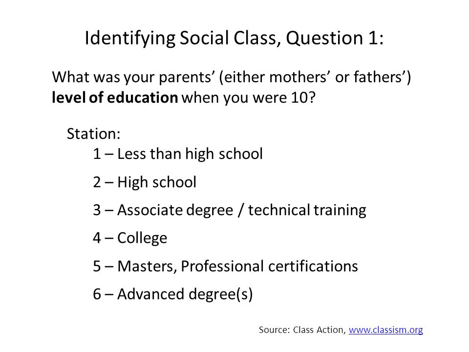 Identifying Social Class, Question 1: What was your parents' (either mothers' or fathers') level of education when you were 10.