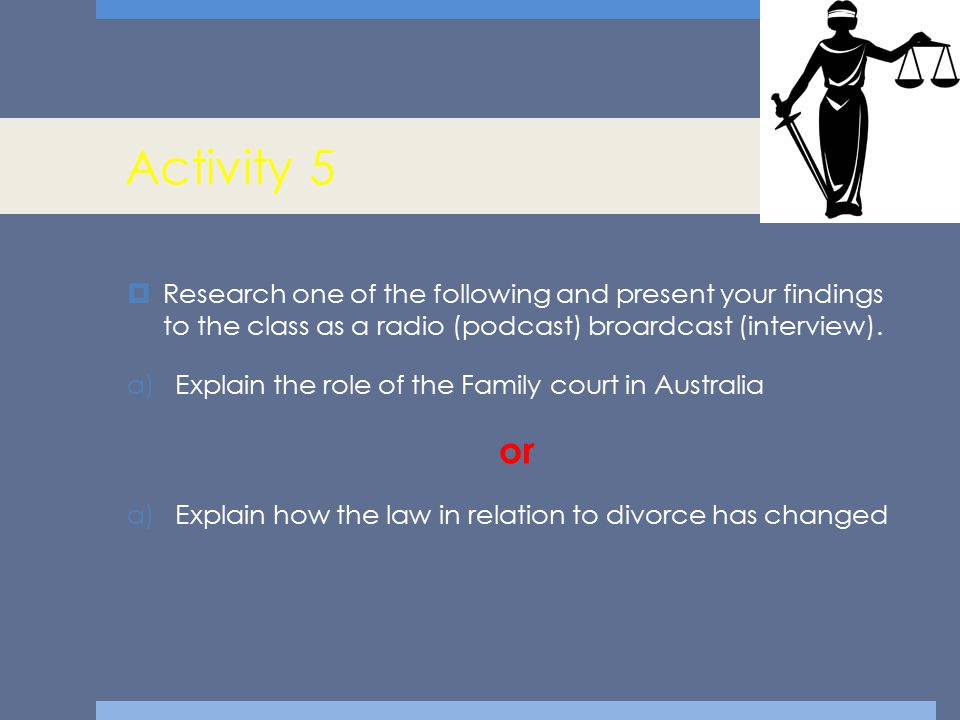 Activity 5  Research one of the following and present your findings to the class as a radio (podcast) broardcast (interview). a)Explain the role of t