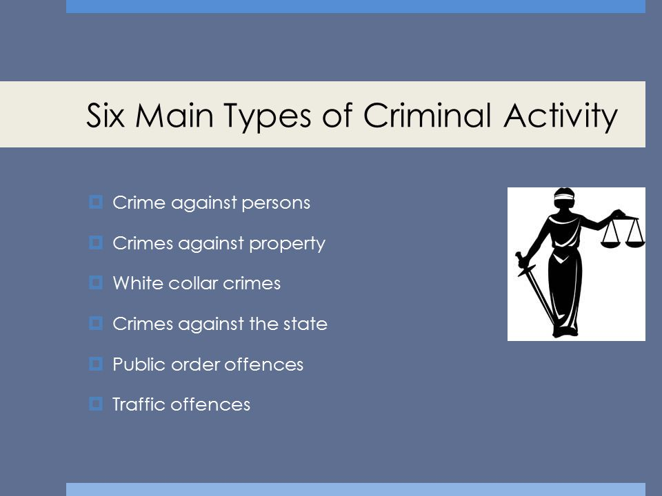 Crime against persons  These are crimes involving injury caused to another person.