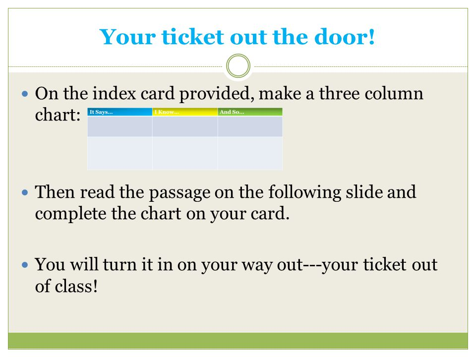 Your ticket out the door! On the index card provided, make a three column chart: Then read the passage on the following slide and complete the chart o