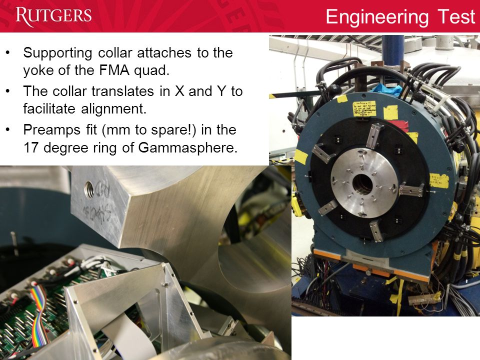 Engineering Test Supporting collar attaches to the yoke of the FMA quad.