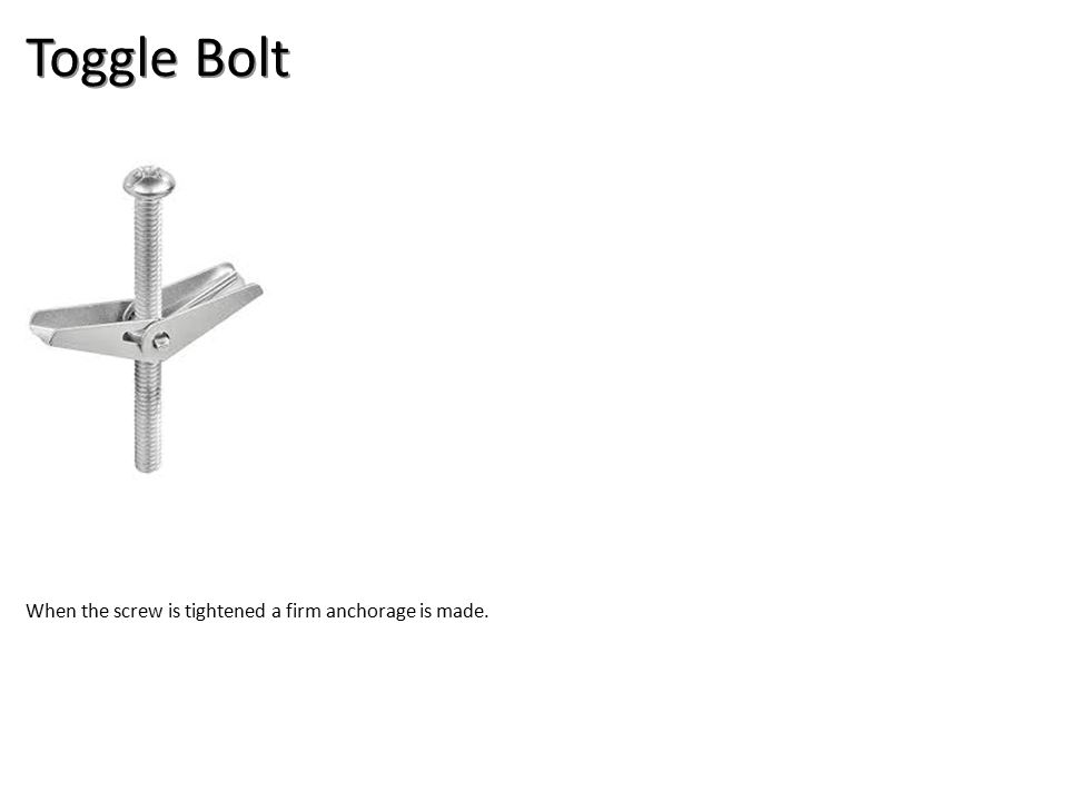Toggle Bolt When the screw is tightened a firm anchorage is made.