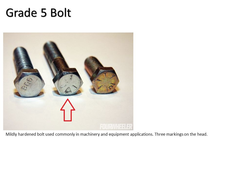 Grade 5 Bolt Mildly hardened bolt used commonly in machinery and equipment applications.