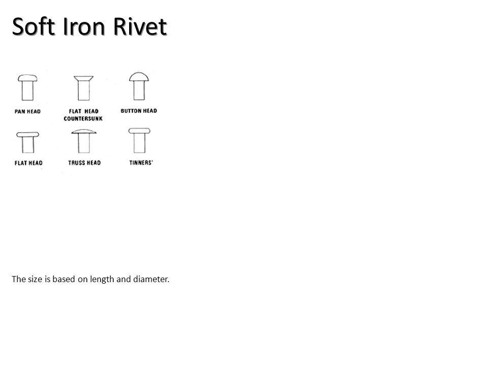Soft Iron Rivet The size is based on length and diameter.