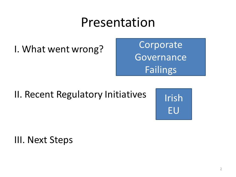 Presentation I. What went wrong. II. Recent Regulatory Initiatives III.