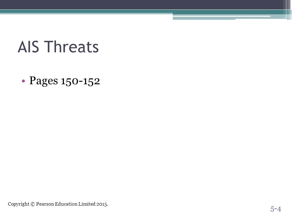 Copyright © Pearson Education Limited 2015. AIS Threats Pages 150-152 5-4