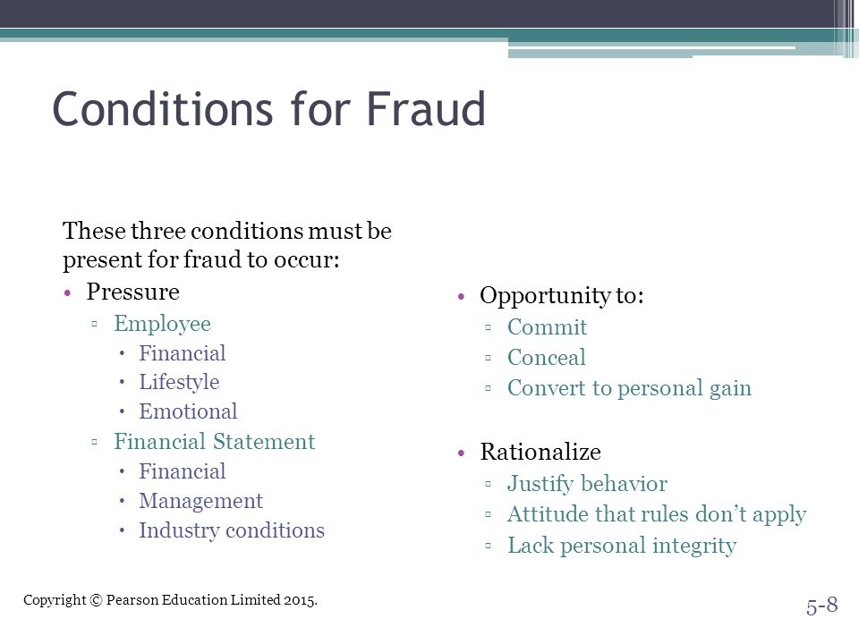Copyright © Pearson Education Limited 2015. Conditions for Fraud These three conditions must be present for fraud to occur: Pressure ▫Employee  Finan