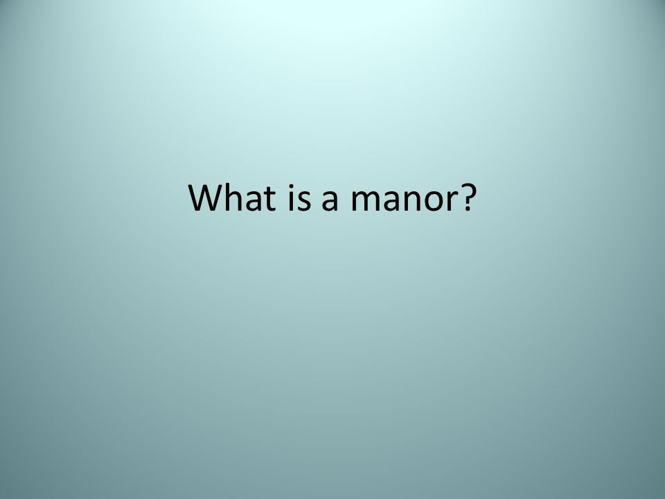 What is a manor?