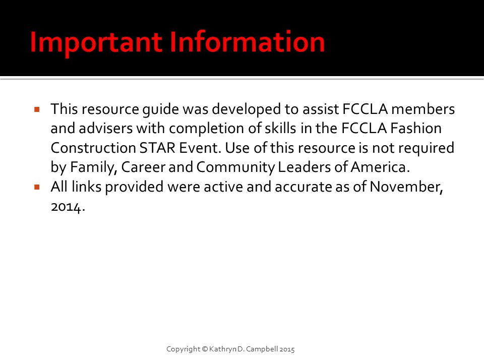  This resource guide was developed to assist FCCLA members and advisers with completion of skills in the FCCLA Fashion Construction STAR Event.
