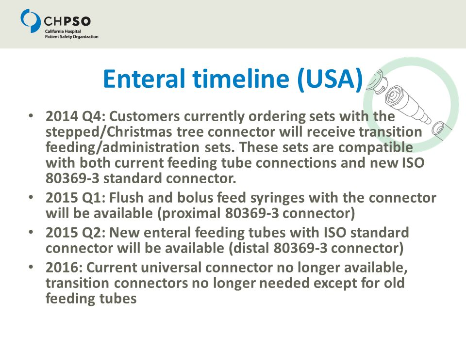 Enteral timeline (USA) 2014 Q4: Customers currently ordering sets with the stepped/Christmas tree connector will receive transition feeding/administra