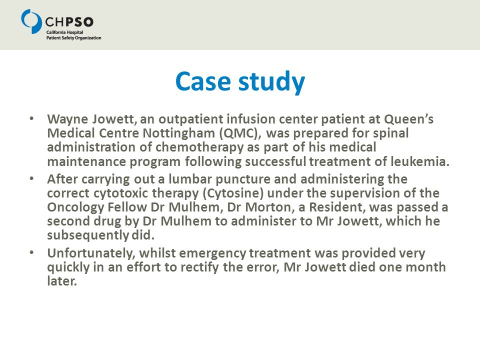 Case study Wayne Jowett, an outpatient infusion center patient at Queen's Medical Centre Nottingham (QMC), was prepared for spinal administration of c
