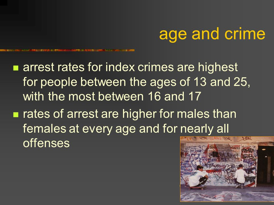 age and crime arrest rates for index crimes are highest for people between the ages of 13 and 25, with the most between 16 and 17 rates of arrest are