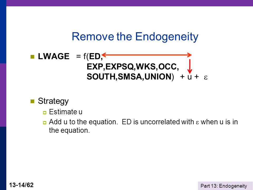 Part 13: Endogeneity 13-14/62 Remove the Endogeneity LWAGE = f(ED, EXP,EXPSQ,WKS,OCC, SOUTH,SMSA,UNION) + u +  Strategy  Estimate u  Add u to the equation.