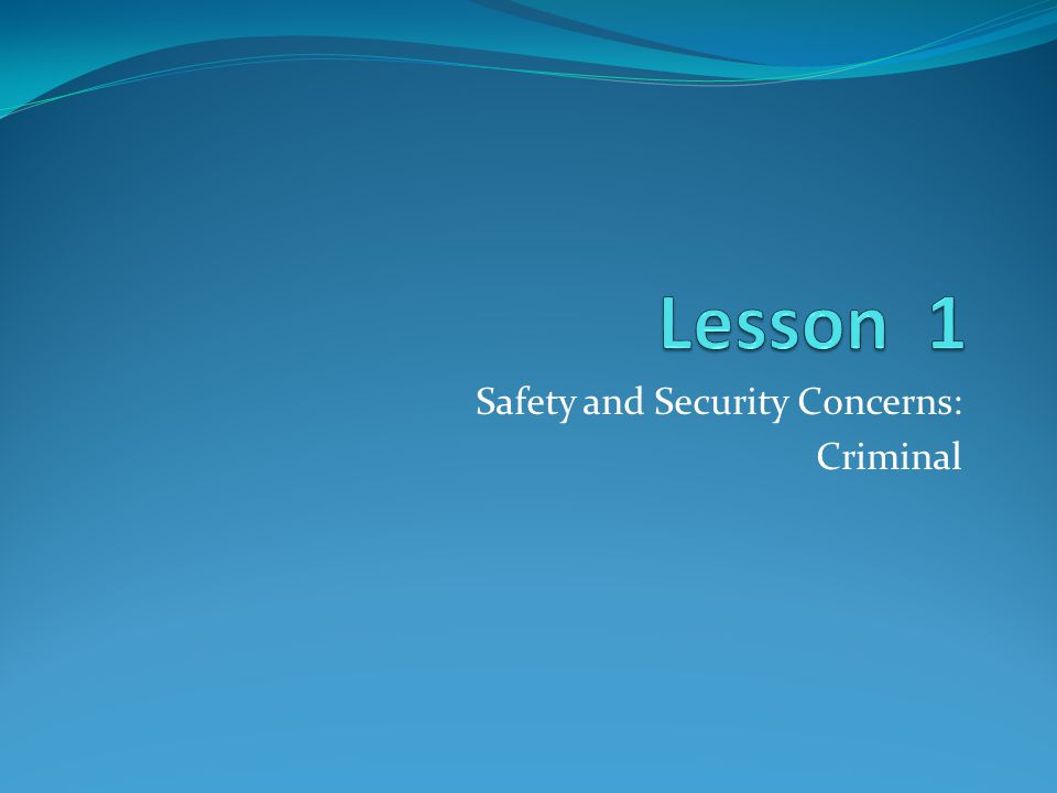Safety and Security Concerns: Criminal