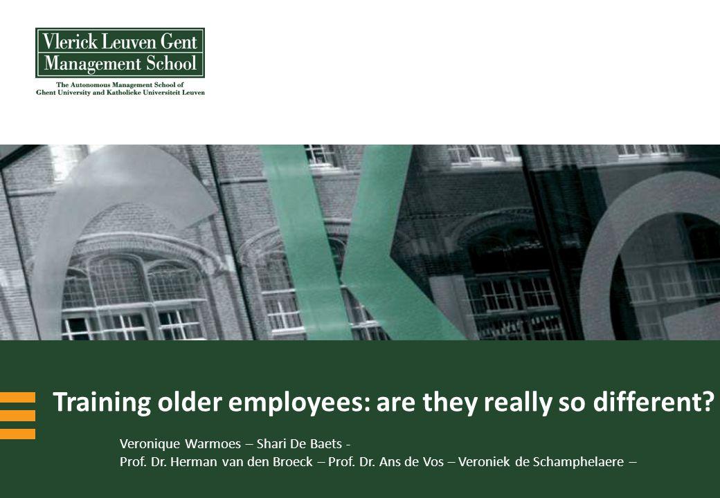 © Vlerick Leuven Gent Management School 12   Age is just one factor amongst many..
