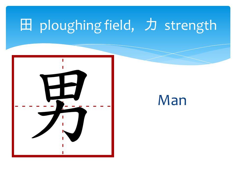 田 ploughing field, 力 strength Man