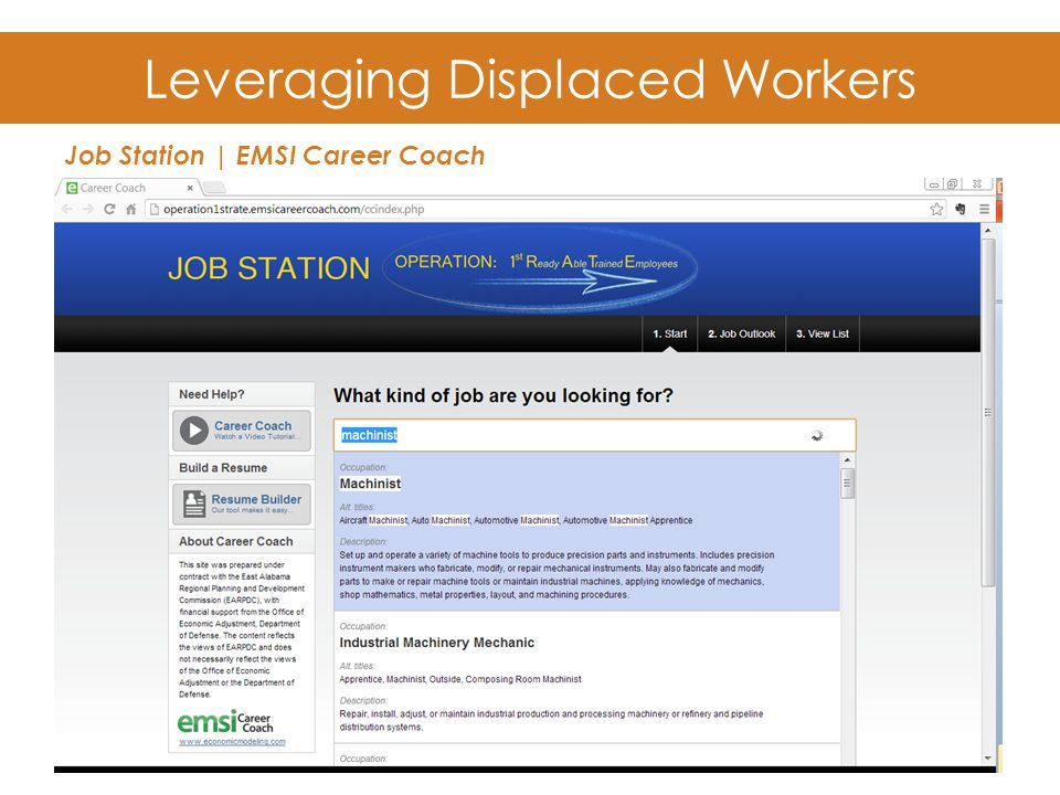 Leveraging Displaced Workers Job Station | EMSI Career Coach