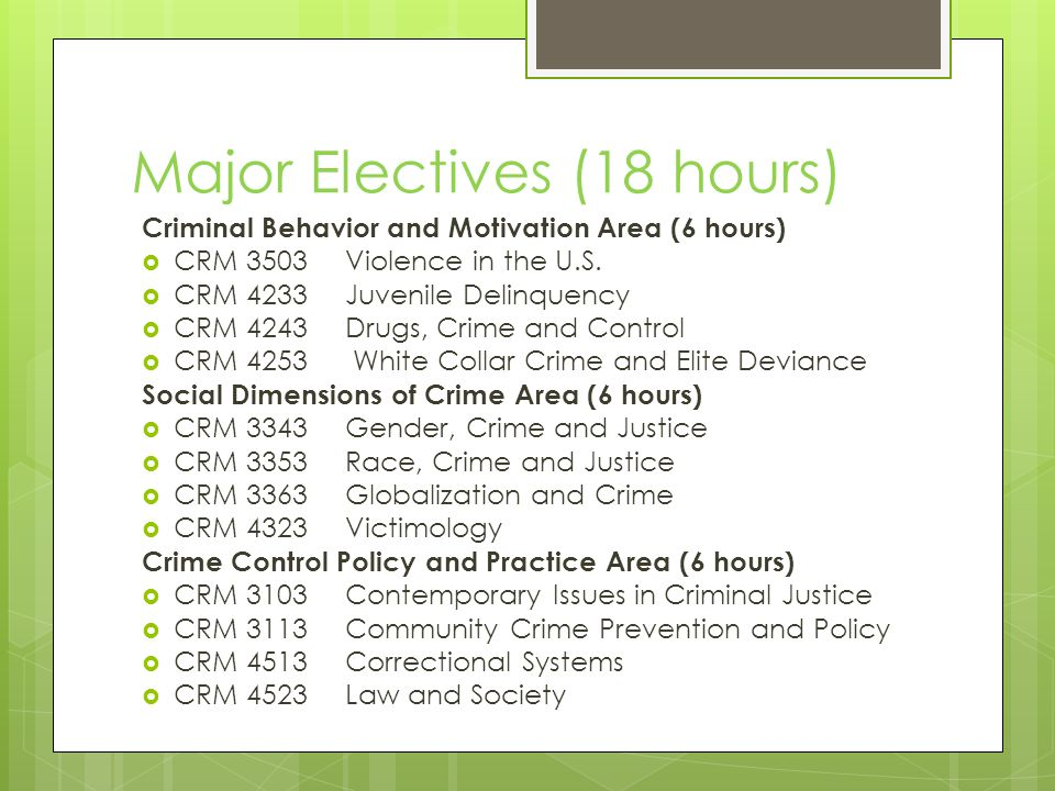 Major Electives (18 hours) Criminal Behavior and Motivation Area (6 hours)  CRM 3503 Violence in the U.S.