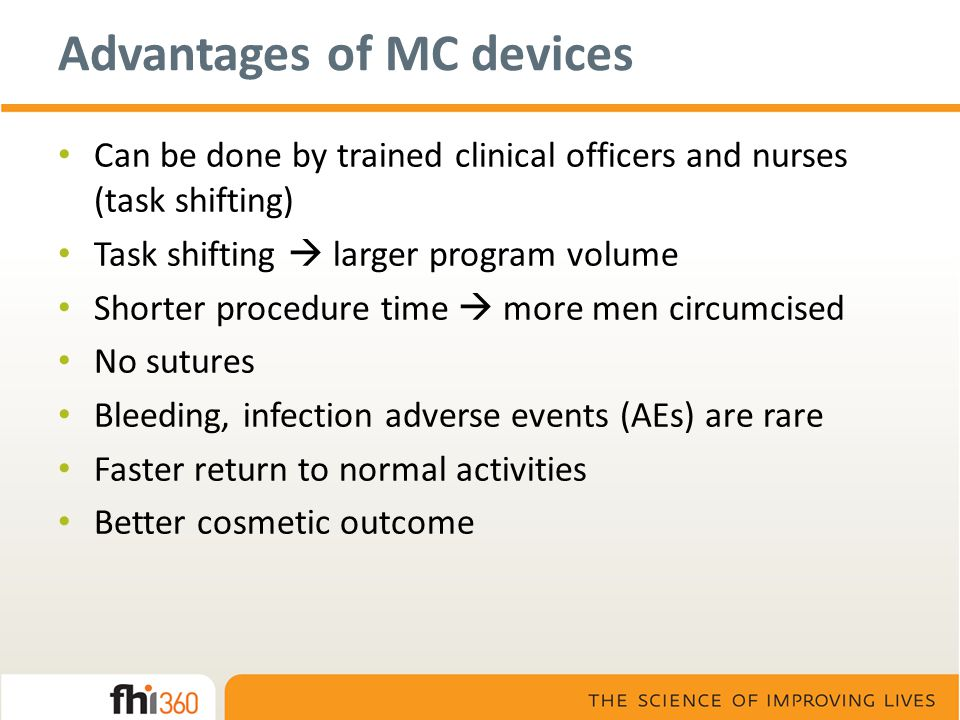 Advantages of MC devices Can be done by trained clinical officers and nurses (task shifting) Task shifting  larger program volume Shorter procedure t