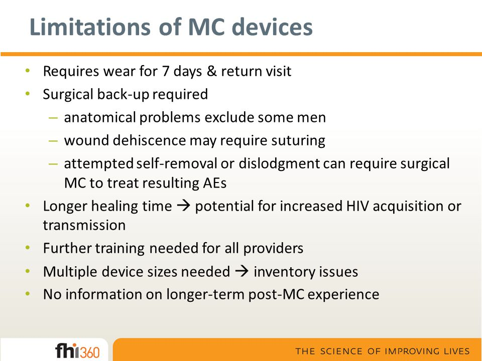Limitations of MC devices Requires wear for 7 days & return visit Surgical back-up required – anatomical problems exclude some men – wound dehiscence