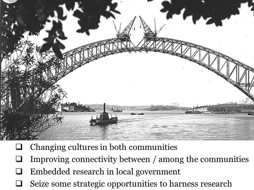 Connecting the disconnected requires more than one-off interventions or exhortation so we recommend: Local government leadership:  LGA leadership powerful – promote research as an asset;  Equip councils to make the most of the asset (evidence and learning as part of Peer Review?)  Role for Solace, the professions and professional bodies in promoting awareness and use;  Local authority access to good practice e.g.
