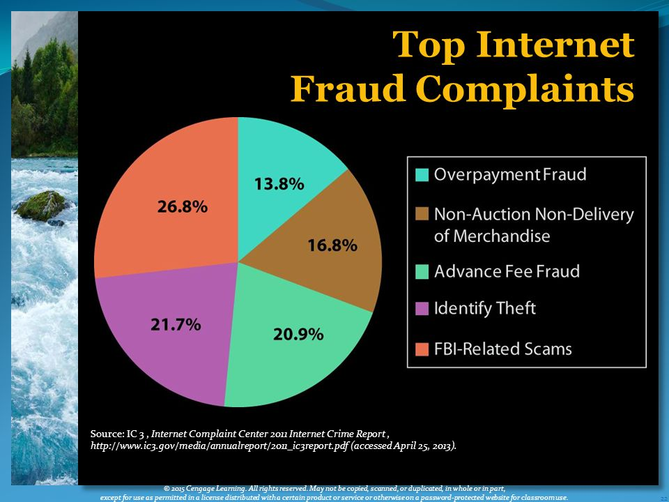 22 Top Internet Fraud Complaints © 2015 Cengage Learning.