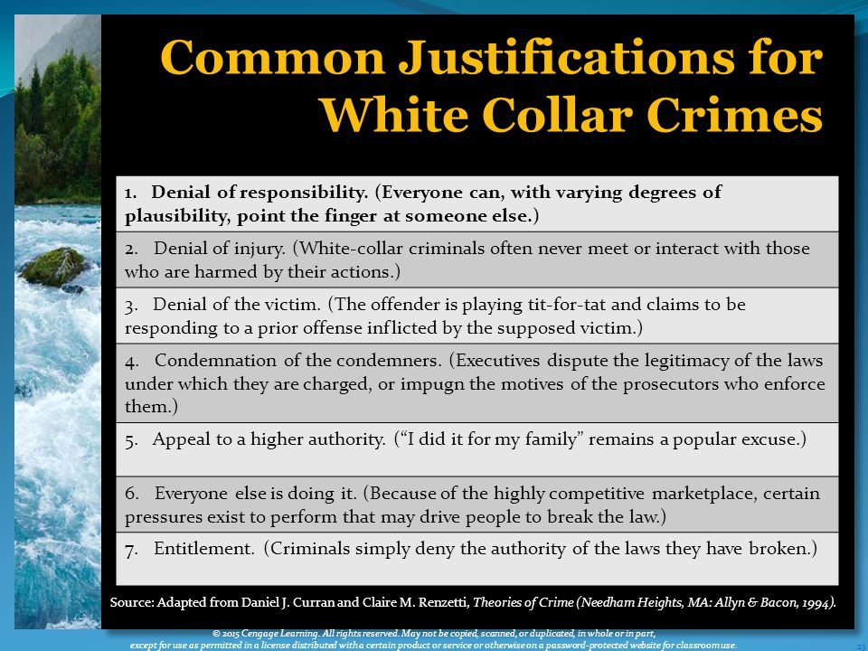23 Common Justifications for White Collar Crimes © 2015 Cengage Learning.