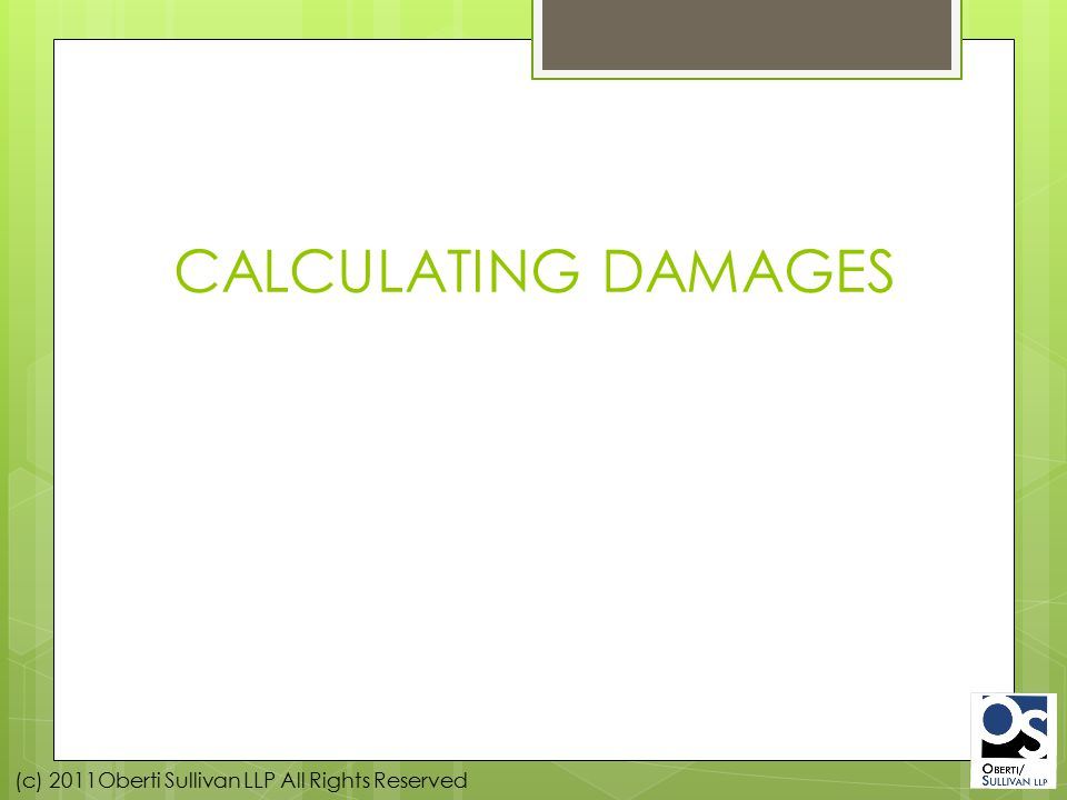 (c) 2011Oberti Sullivan LLP All Rights Reserved CALCULATING DAMAGES