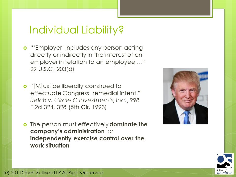 (c) 2011Oberti Sullivan LLP All Rights Reserved MISCLASSIFICATION CASES – THE WHITE COLLAR EXEMPTIONS – 29 CFR Part 541.0, et seq.
