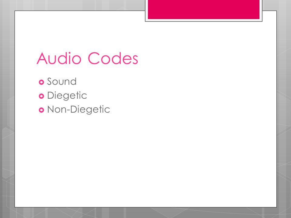 Audio Codes  Sound  Diegetic  Non-Diegetic