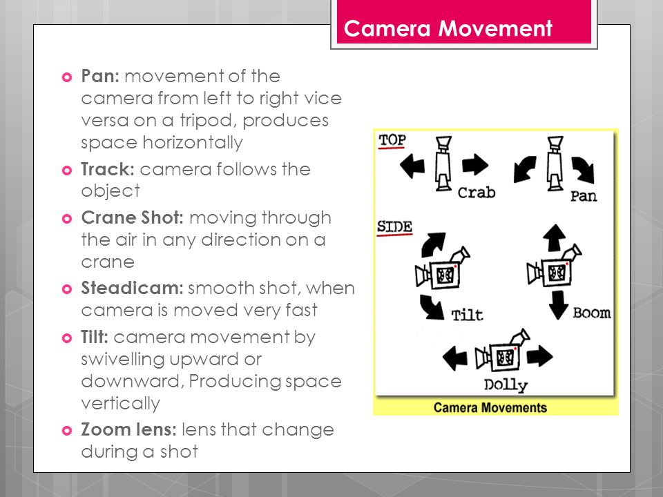 Camera Movement  Pan: movement of the camera from left to right vice versa on a tripod, produces space horizontally  Track: camera follows the object  Crane Shot: moving through the air in any direction on a crane  Steadicam: smooth shot, when camera is moved very fast  Tilt: camera movement by swivelling upward or downward, Producing space vertically  Zoom lens: lens that change during a shot