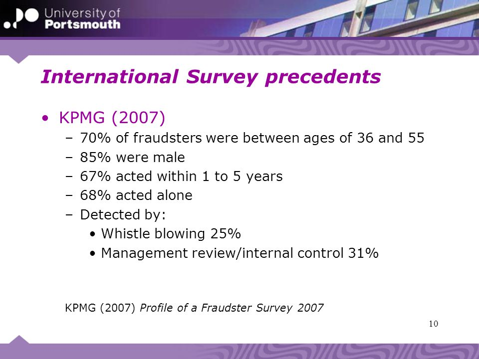 International Survey precedents KPMG (2007) –70% of fraudsters were between ages of 36 and 55 –85% were male –67% acted within 1 to 5 years –68% acted alone –Detected by: Whistle blowing 25% Management review/internal control 31% KPMG (2007) Profile of a Fraudster Survey 2007 10