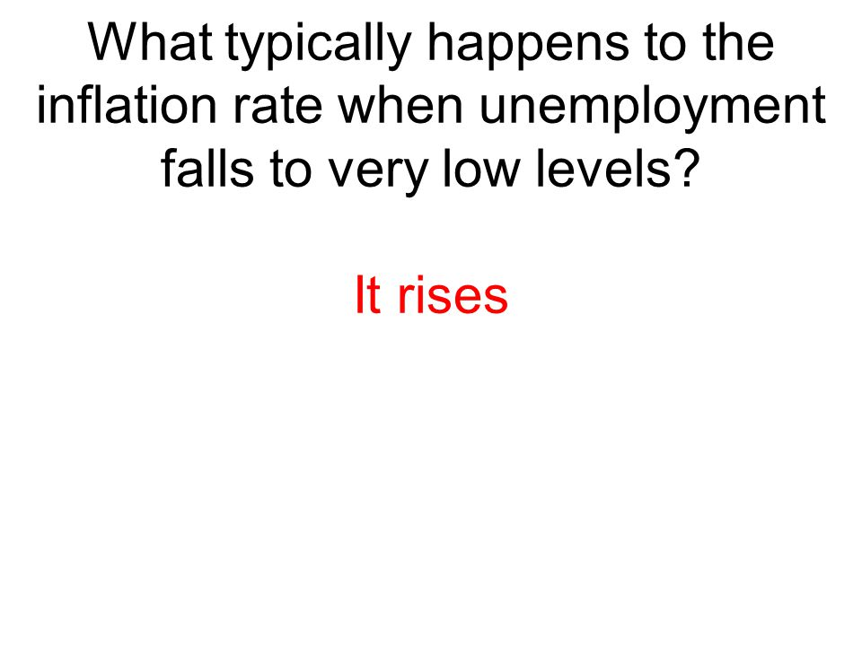 What typically happens to the inflation rate when unemployment falls to very low levels? It rises
