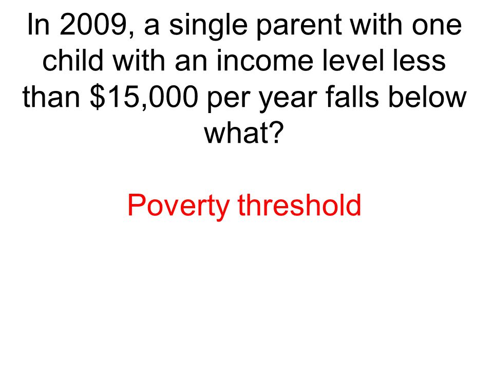 In 2009, a single parent with one child with an income level less than $15,000 per year falls below what? Poverty threshold