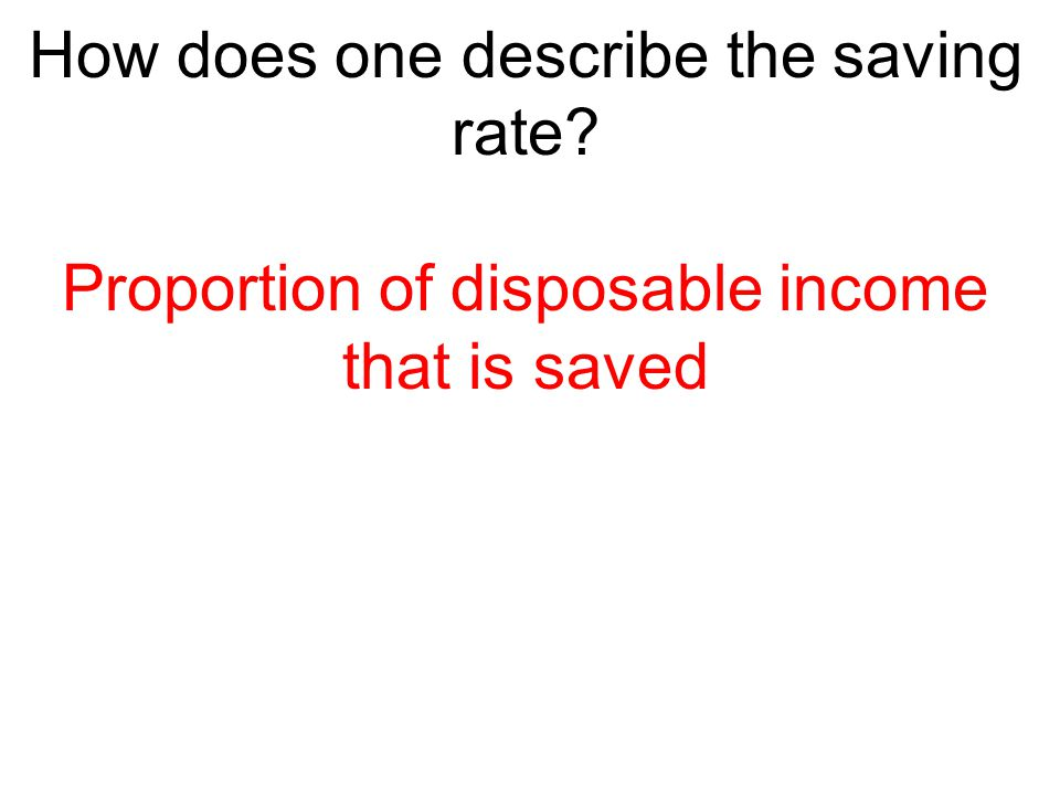 How does one describe the saving rate? Proportion of disposable income that is saved