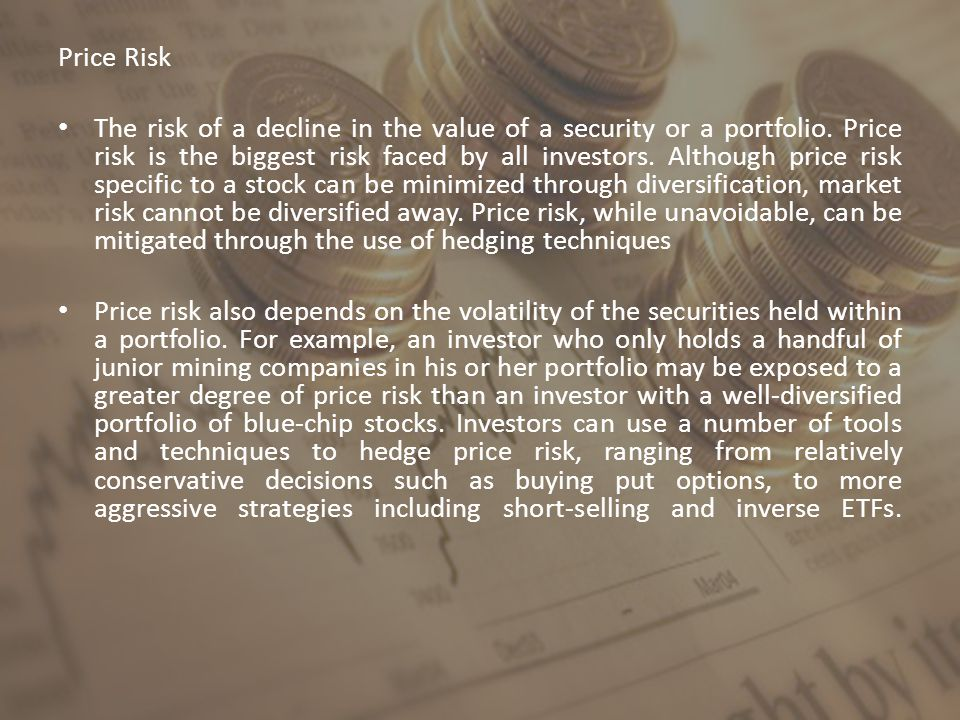 Price Risk The risk of a decline in the value of a security or a portfolio.