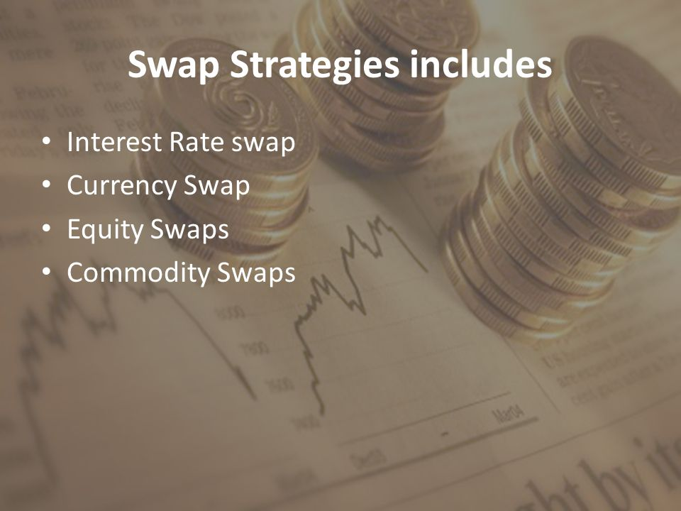 Swap Strategies includes Interest Rate swap Currency Swap Equity Swaps Commodity Swaps
