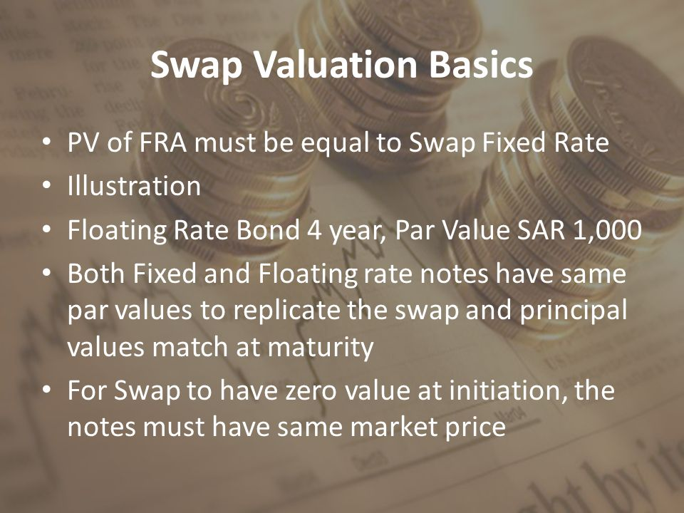 Swap Valuation Basics PV of FRA must be equal to Swap Fixed Rate Illustration Floating Rate Bond 4 year, Par Value SAR 1,000 Both Fixed and Floating r