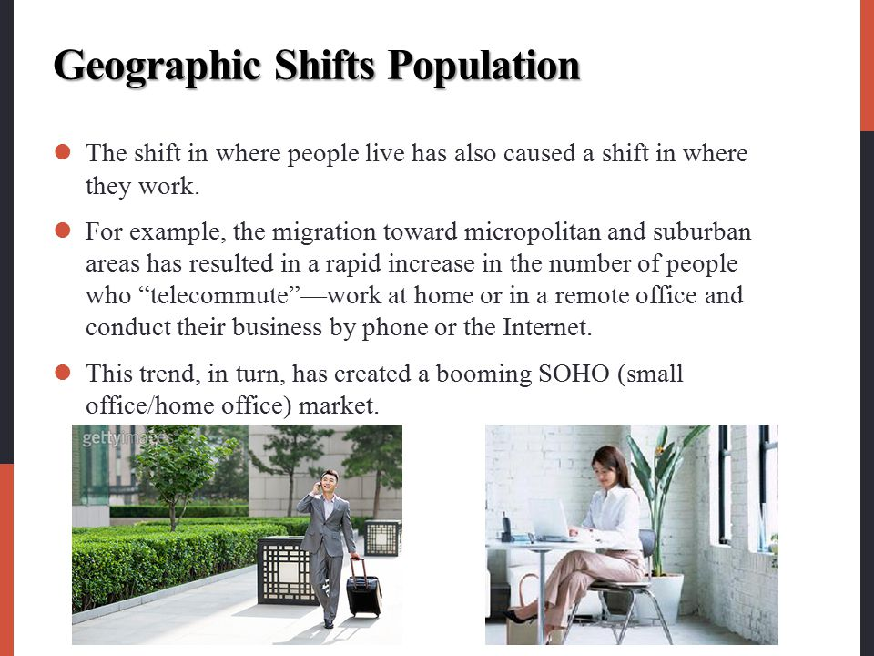 Geographic Shifts Population The shift in where people live has also caused a shift in where they work. For example, the migration toward micropolitan