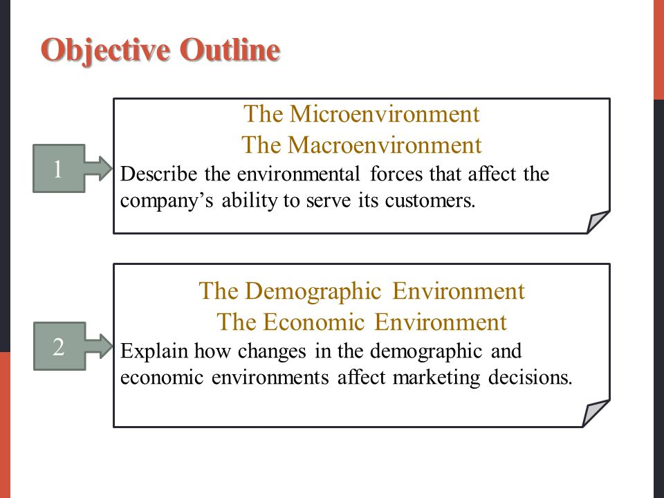 1 The Microenvironment The Macroenvironment Describe the environmental forces that affect the company's ability to serve its customers. 2 The Demograp