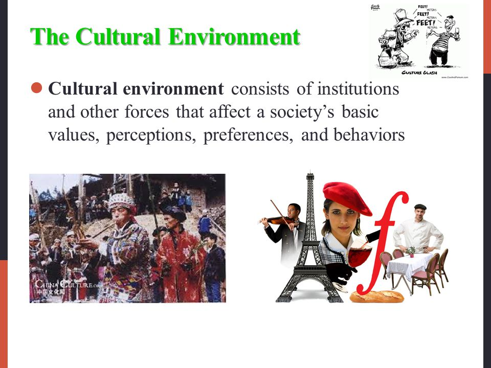 The Cultural Environment Cultural environment consists of institutions and other forces that affect a society's basic values, perceptions, preferences