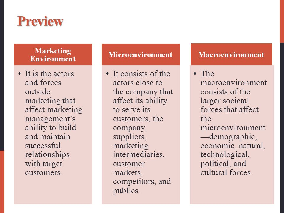 Preview Marketing Environment It is the actors and forces outside marketing that affect marketing management's ability to build and maintain successfu