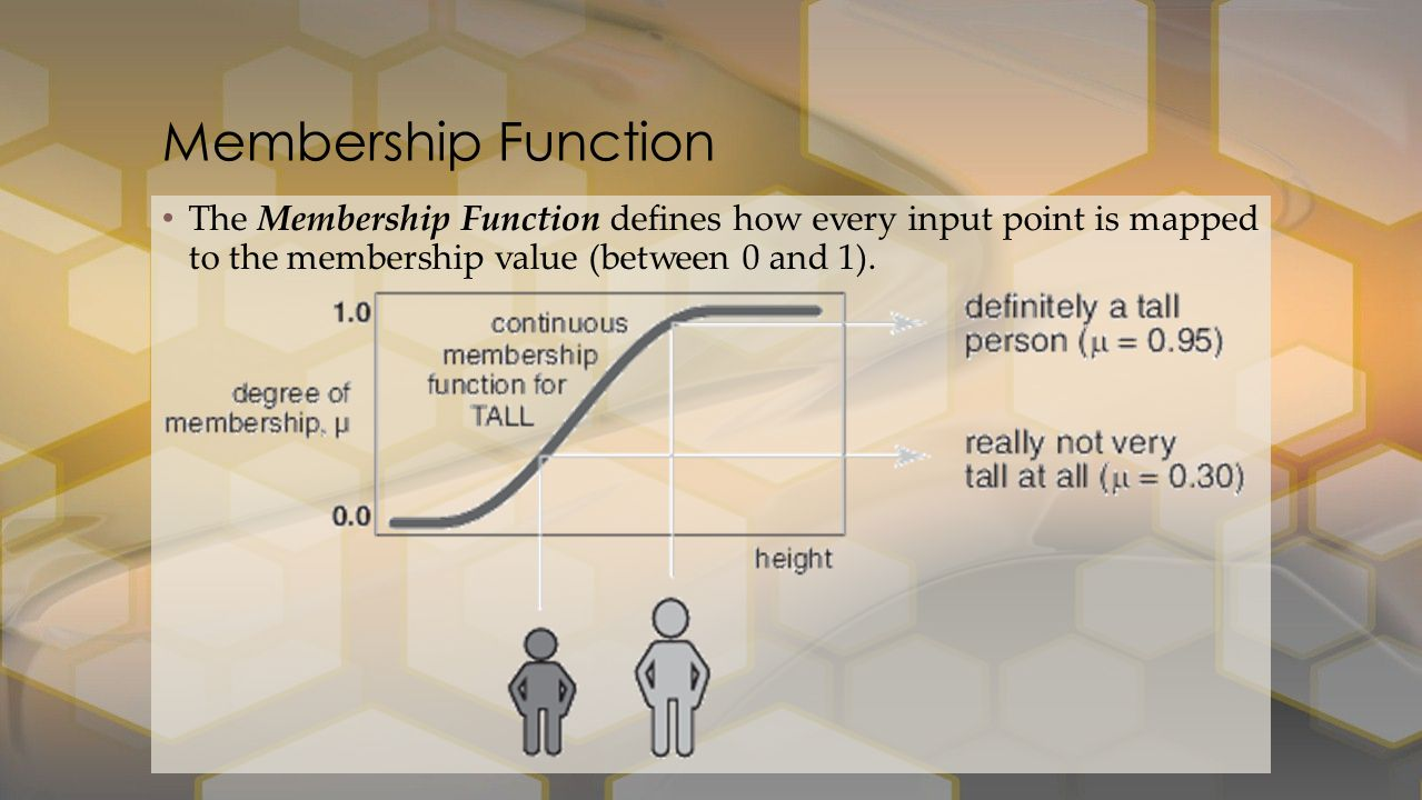 The Membership Function defines how every input point is mapped to the membership value (between 0 and 1).
