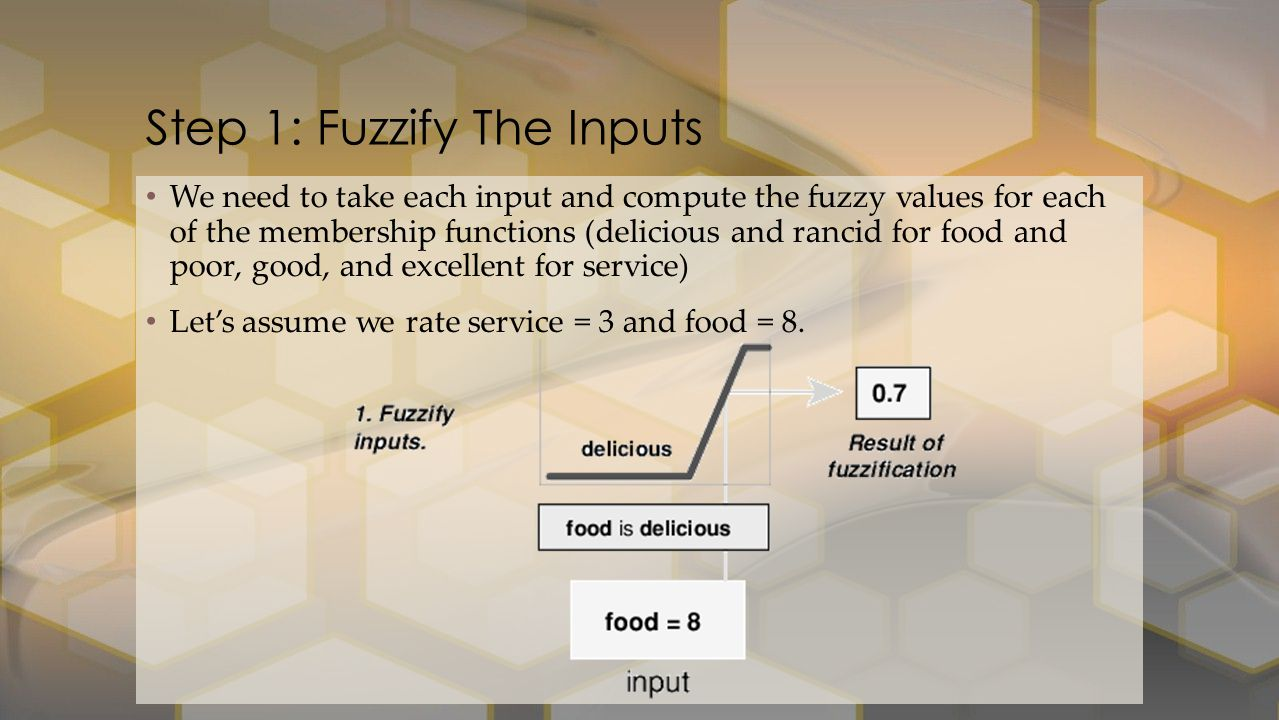 We need to take each input and compute the fuzzy values for each of the membership functions (delicious and rancid for food and poor, good, and excellent for service) Let's assume we rate service = 3 and food = 8.