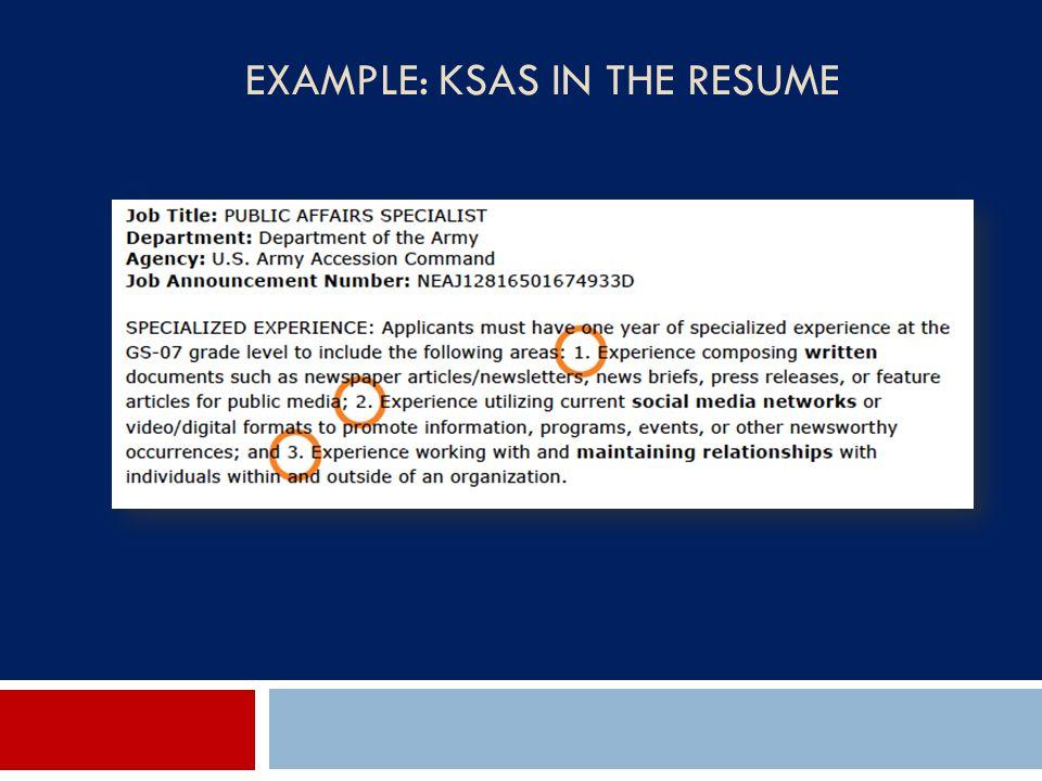 EXAMPLE: KSAS IN THE RESUME