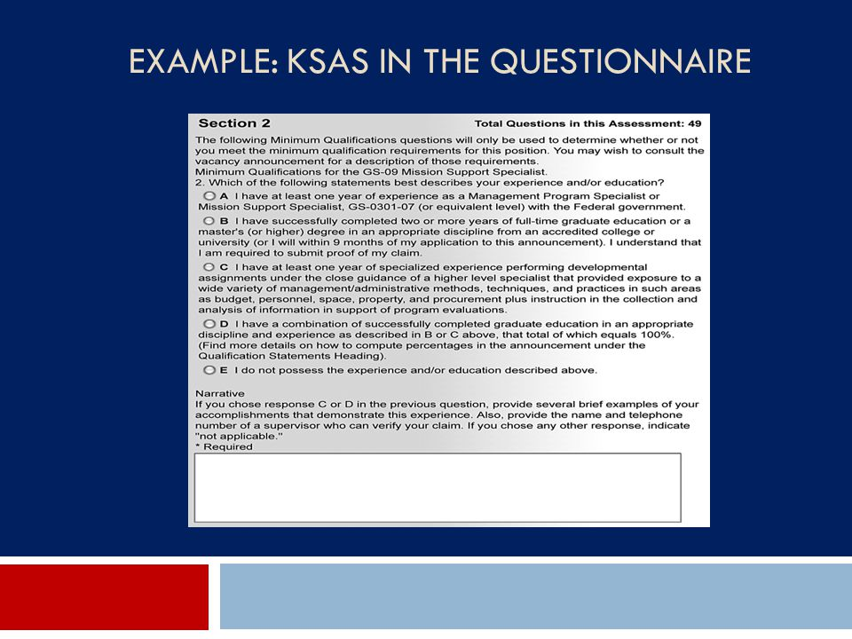 EXAMPLE: KSAS IN THE QUESTIONNAIRE