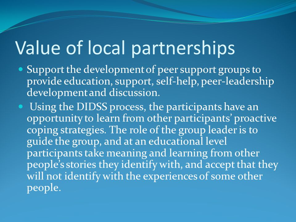 Value of local partnerships Support the development of peer support groups to provide education, support, self-help, peer-leadership development and discussion.