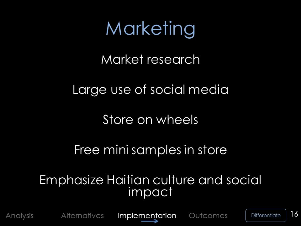 Differentiate Analysis Alternatives Implementation Outcomes Marketing Market research Large use of social media Store on wheels Free mini samples in store Emphasize Haitian culture and social impact 16