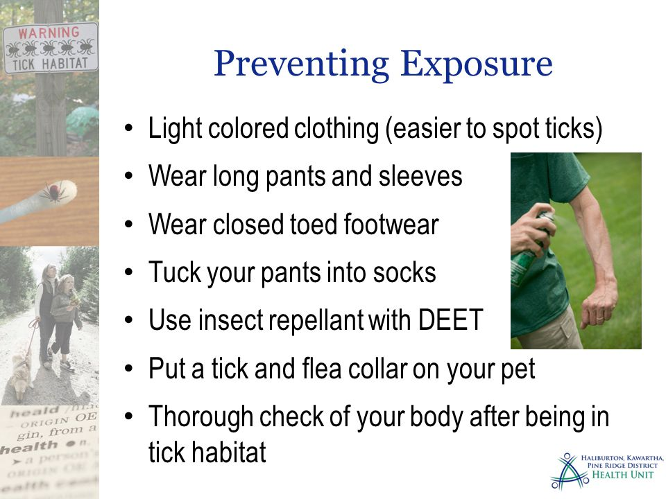 Preventing Exposure Light colored clothing (easier to spot ticks) Wear long pants and sleeves Wear closed toed footwear Tuck your pants into socks Use insect repellant with DEET Put a tick and flea collar on your pet Thorough check of your body after being in tick habitat